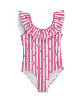 Sovereign Code - Girls' Shelly Floral Print Striped Swimsuit - Little Kid, Big Kid