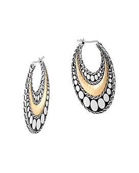 JOHN HARDY - Hammered 18K Gold & Sterling Silver Dotted Hoop Earrings