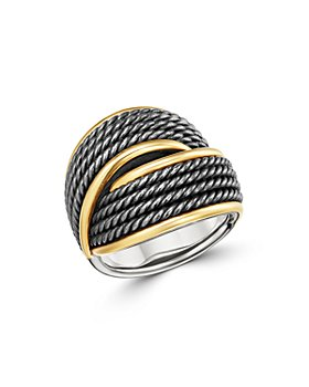 David Yurman - Origami 18K Gold Crossover Ring with Blackened Sterling Silver
