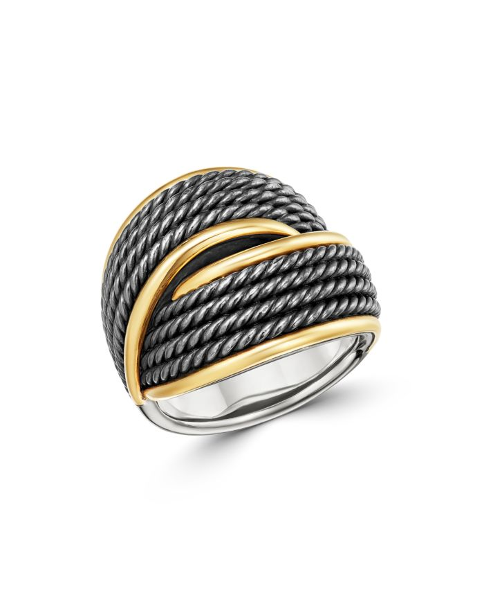 David Yurman Origami 18K Gold Crossover Ring with Blackened Sterling Silver    Bloomingdale's