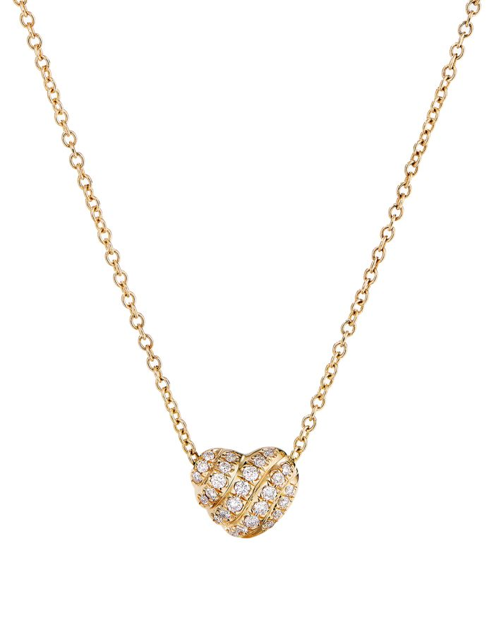 """David Yurman Cable Heart Pendant Necklace in 18K Yellow Gold with Pavé Diamonds, 18""""  