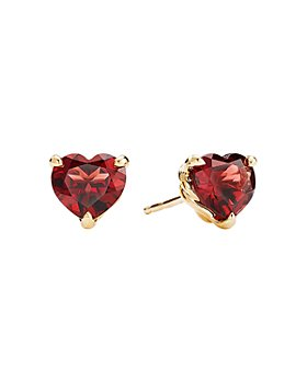 David Yurman - Châtelaine® Heart Stud Earrings in 18K Yellow Gold with Garnet