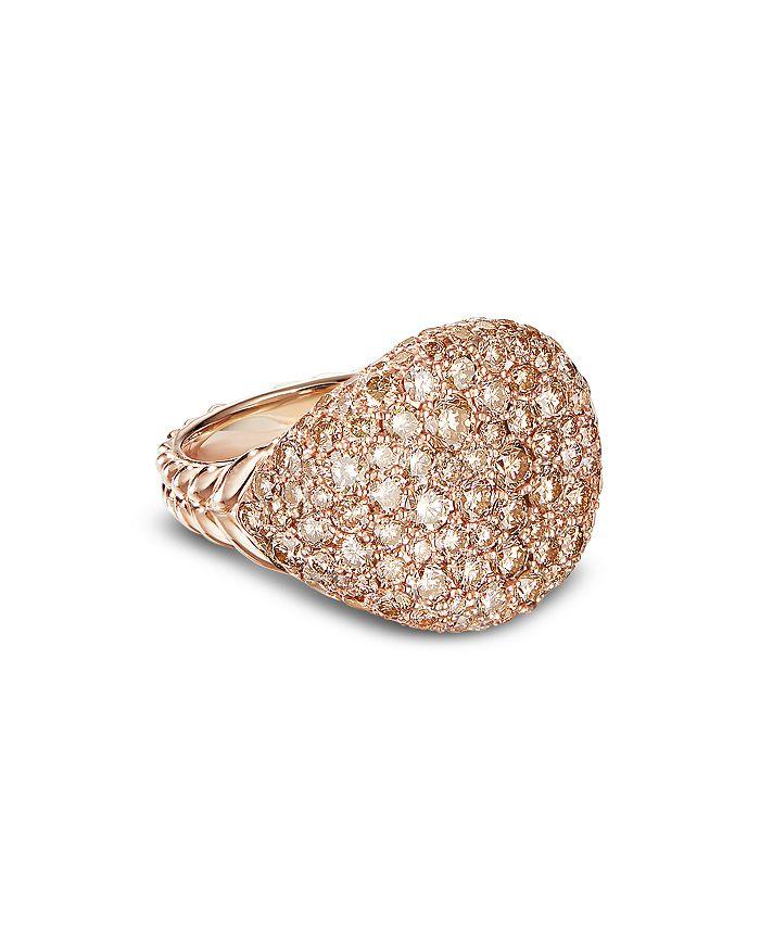 David Yurman - 18K Rose Gold Chevron Pinky Ring with Pavé Diamonds