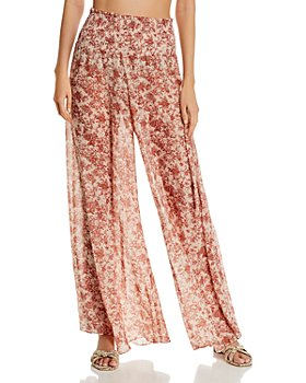 Caroline Constas - Smocked Printed Swim Cover-Up Pants