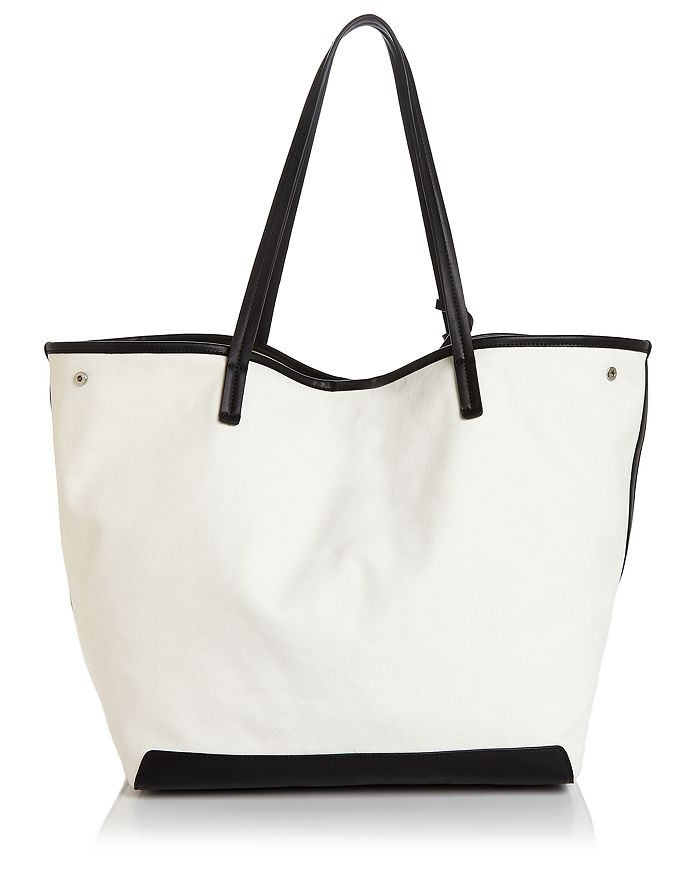 Aqua Extra Large Canvas Tote - 100% Exclusive In Natural/black/silver