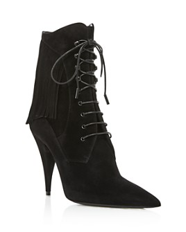 Saint Laurent - Women's Kiki 100 Lace Up Fringe Boots
