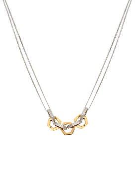 """ALLSAINTS - Two-Tone Pavé Hexagon Link Double-Chain Statement Necklace, 15""""-17"""""""