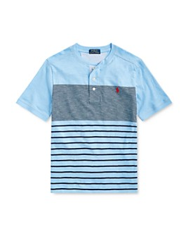 Ralph Lauren - Boys' Cotton Color-Blocked Stripe Henley Top - Big Kid