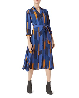 HOBBS LONDON - Dalia Geometric-Print Shirt Dress