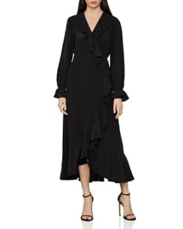 BCBGMAXAZRIA - Ruffled Silk Faux-Wrap Dress