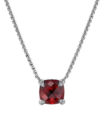 David Yurman - Châtelaine® Pendant Necklace with Rhodalite Garnet and Diamonds, 18""