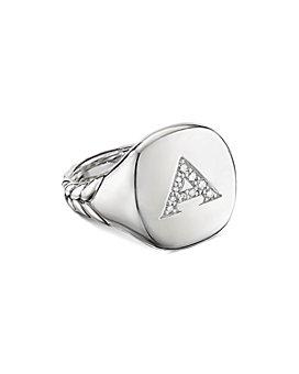 David Yurman - Sterling Silver Initial Pinky Ring with Pavé Diamonds