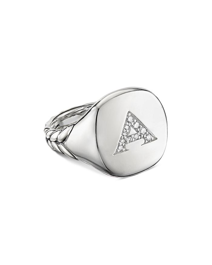 David Yurman - Sterling Silver Initial Pinky Ring with Pavé Diamonds
