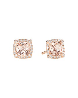David Yurman - Petite Châtelaine® Pavé Bezel Stud Earrings in 18K Rose Gold with Morganite