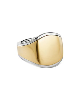 David Yurman - Streamline® Signet Ring in 18K Yellow Gold and Sterling Silver