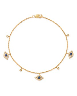 Bloomingdale's - Diamond & Sapphire Evil Eye Station Bracelet in 14K Yellow Gold - 100% Exclusive