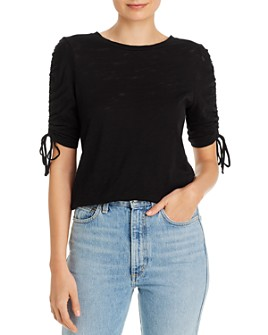 Goldie - Cotton Ruched-Sleeve Tee