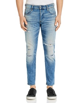 G-STAR RAW - 3301 Slim Fit Jeans in Worn In Ripped Blue Faded - 100% Exclusive