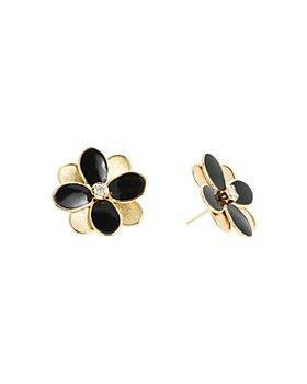 Marco Bicego - 18K Yellow Gold Petali Diamond & Enamel Flower Stud Earrings