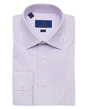 David Donahue Cotton Ribbon Check Trim Fit Dress Shirt-Men