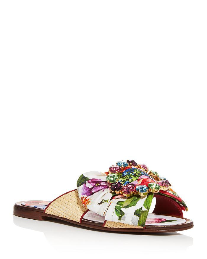 Dolce & Gabbana - Women's Bianca Abaya Crystal Embellished Slide Sandals