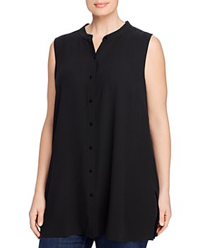 Eileen Fisher Plus - Mandarin-Collar Silk Sleeveless Shirt