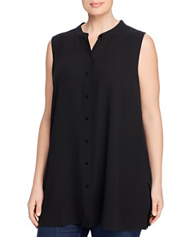Eileen Fisher Plus - Mandarin-Collar Sleeveless Shirt