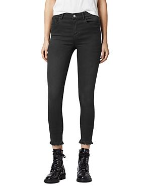 Allsaints Miller Frayed Hem Skinny Jeans in Black