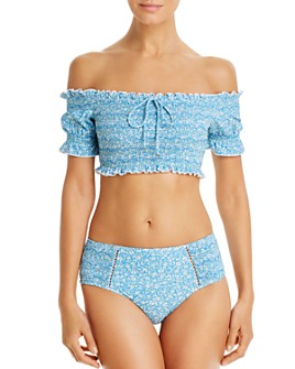 Jonathan Simkhai - Chloe Floral Smocked Off-The-Shoulder Bikini Top & Clara Floral Smocked Bikini Bottom