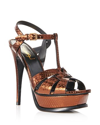 Saint Laurent - Women's Tribute Metallic Snakeskin High-Heel Sandals
