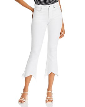 AQUA - Roxy Frayed Cropped Jeans in White - 100% Exclusive