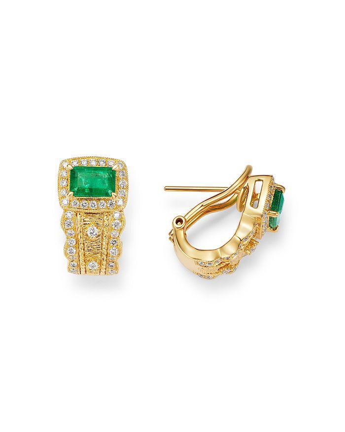 Bloomingdale's - Emerald & Diamond Halo Earrings in 14K Yellow Gold - 100% Exclusive