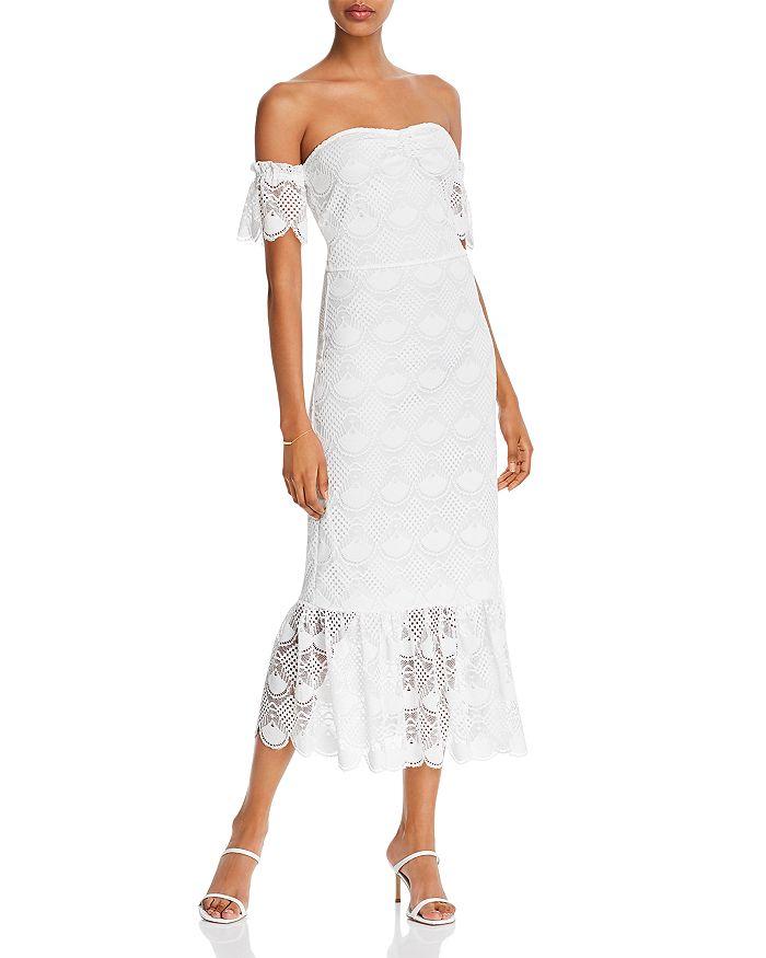 AQUA - Lace Off-The-Shoulder Dress
