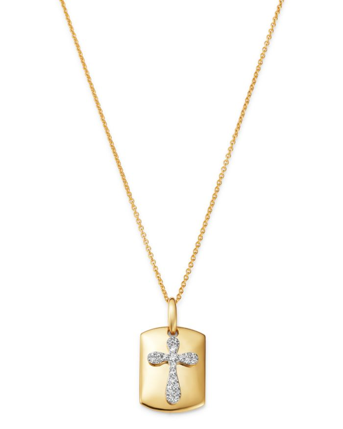 """Bloomingdale's Diamond Cross Dog Tag Pendant Necklace in 14K Yellow Gold, 18"""", 0.10 ct. t.w. - 100% Exclusive  