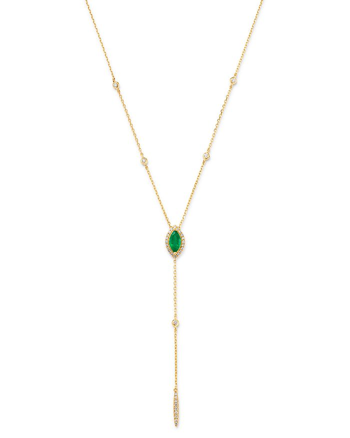 """Bloomingdale's - Emerald & Diamond Lariat Necklace in 14k Yellow Gold, 16-18"""" - 100% Exclusive"""