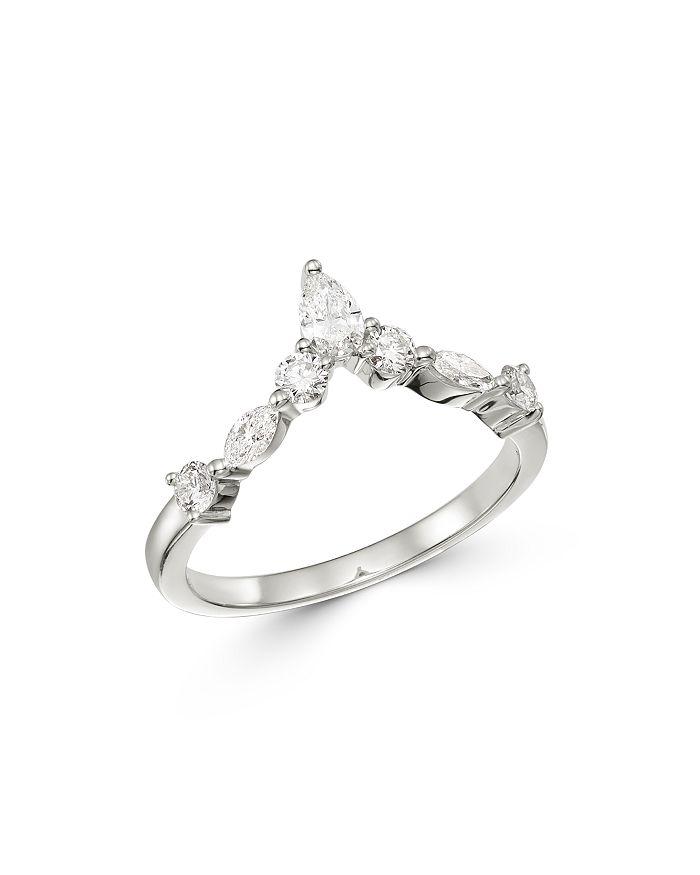 Bloomingdale's - Diamond Fancy-Cut Chevron Ring in 14K White Gold - 100% Exclusive