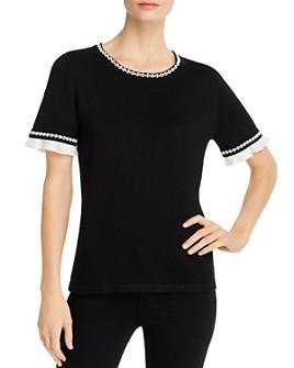 KARL LAGERFELD PARIS - Ruffle-Trim Short-Sleeve Sweater