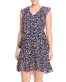 MICHAEL Michael Kors Plus - Dainty Bloom Ruffled Floral Print Dress