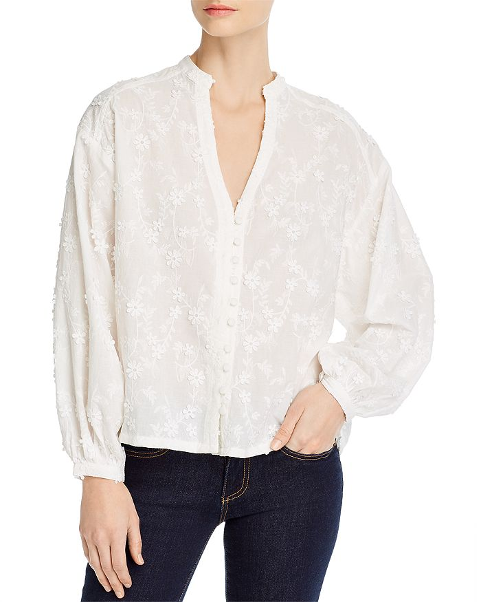 cupcakes and cashmere - Acacia Embroidered Peasant Top