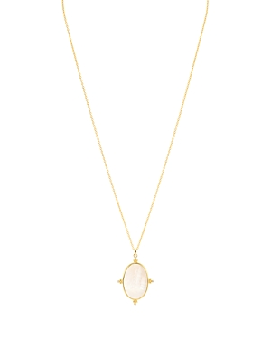 Argento Vivo Micropave & Mother-of-Pearl Oval Pendant Necklace, 17.25-19.25