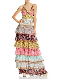 Alice and Olivia - Imogene Mixed-Print Tiered Ruffle Maxi Dress