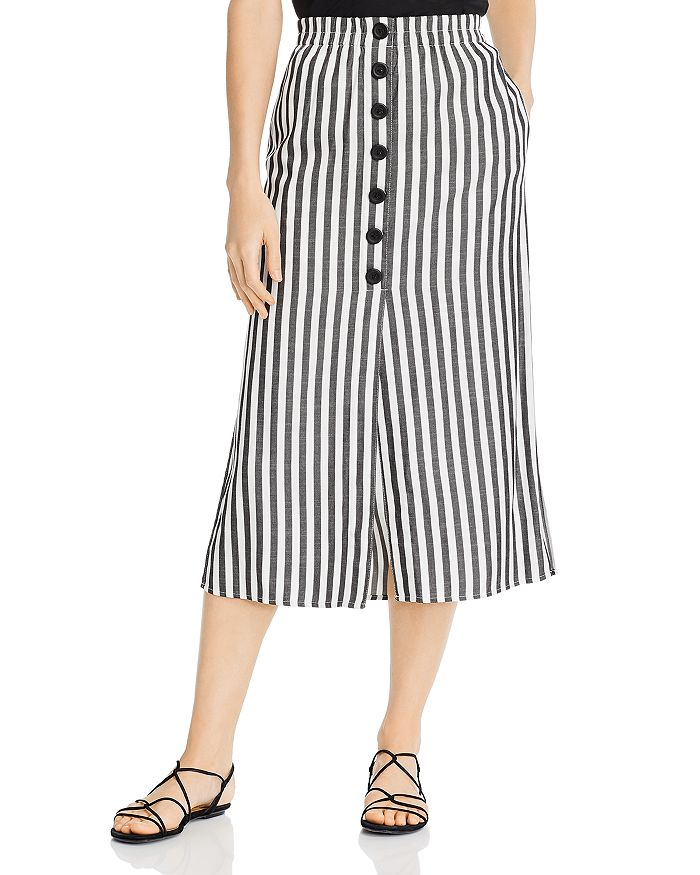 Cupcakes And Cashmere CUPCAKES AND CASHMERE SANDRINE HIGH-WAIST YARN DYE STRIPED BUTTON-DOWN MIDI SKIRT