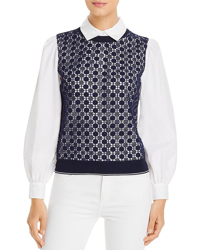 Tory Burch - Embroidered Vest Poplin-Sleeve Top