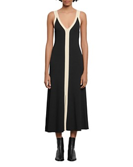 Sandro - Naten Knit Two-Tone Midi Dress