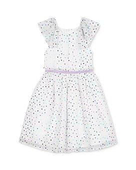 Pippa & Julie - Girls' Ruffled-Sleeve Dot-Print Fit-and-Flare Dress - Little Kid