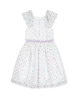 Pippa & Julie - Girls' Ruffled-Sleeve Dot-Print Fit-and-Flare Dress - Little Kid