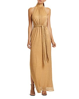 HALSTON - Ruched Metallic Gown