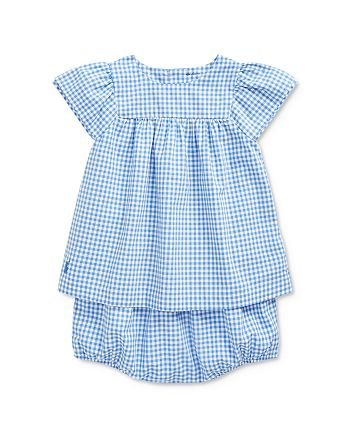Ralph Lauren - Girls' Cotton Gingham Check Top & Bloomers Set - Baby