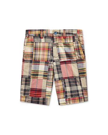 Ralph Lauren - Boys' Cotton Madras Plaid Patchwork Slim Fit Shorts - Big Kid