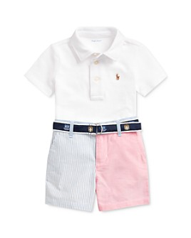 Ralph Lauren - Boys' Cotton Polo Shirt, Color-Blocked Oxford Shorts & D-Ring Jacquard Belt Set - Baby